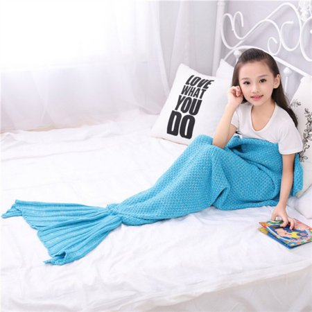 ENJOY Lovely Colorful Mermaid Tail Blanket Throw Bed Handmade Crochet Girls Dressing Up Toys Sofa Sleeping - Bee Tail