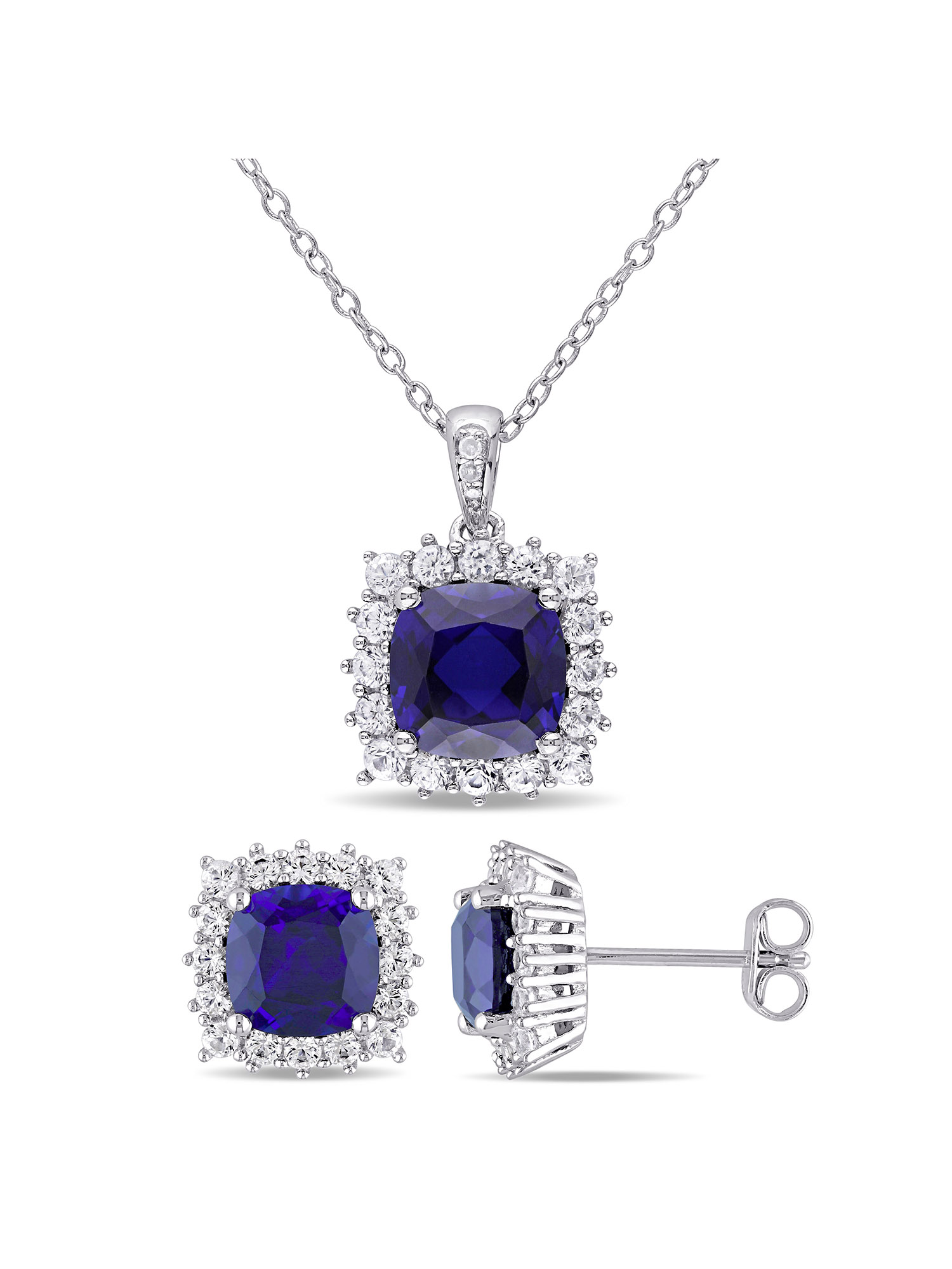 Tangelo 8-1 2 Carat T.G.W. Created Blue and Created White Sapphire and 1 10 Carat T.W. Diamond Sterling Silver Halo... by Delmar Manufacturing LLC