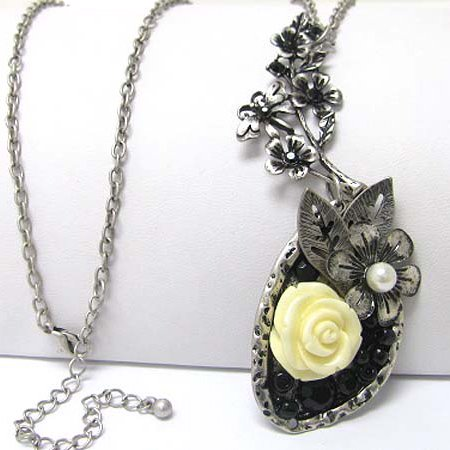 Vintage Style Yellow Rose with Faux Pearl Pendant 30