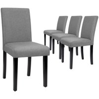 Walnew Set of 4 Fabric Modern Armless Dining Chairs with Upholstered Wood Legs (Gray)