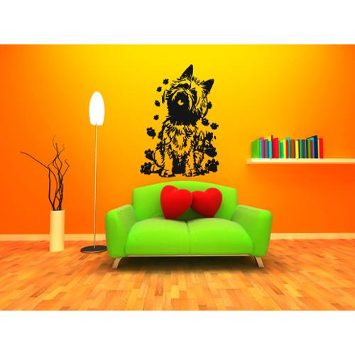 Stickalz llc Cairn Terrier Dog Traces of Paws Wall Art Sticker Decal