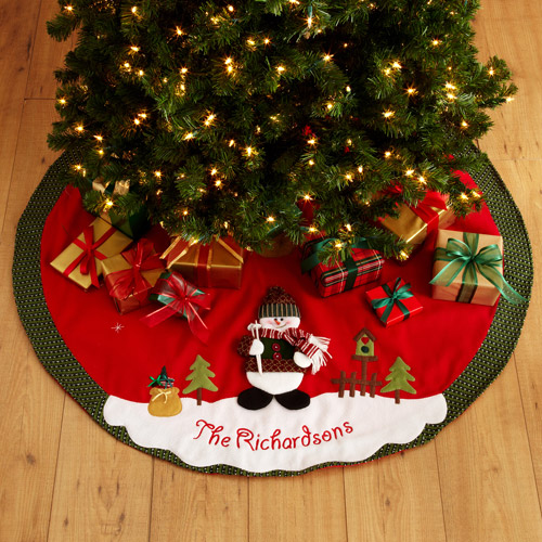 Personalized Snow Cap Christmas Tree Skirt