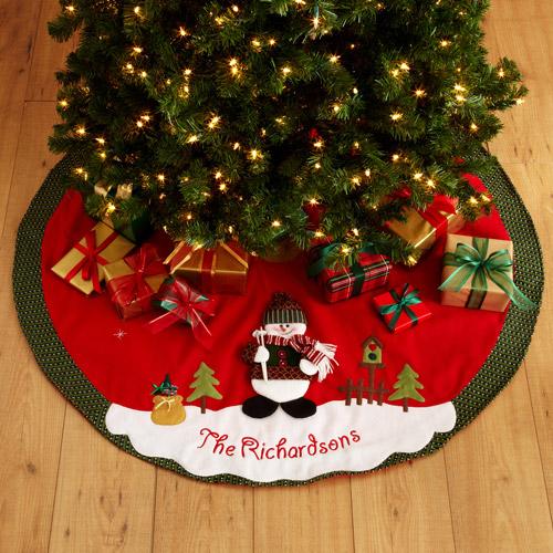 Personalized Snow Cap Christmas Tree Skirt