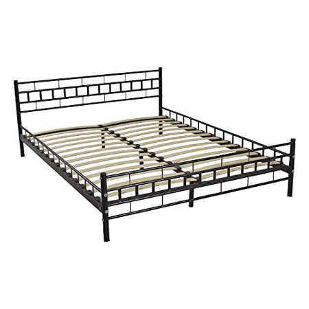 Ghp 82 67 X63 Black Iron Wooden Bed Slat Queen Size Bed Frame