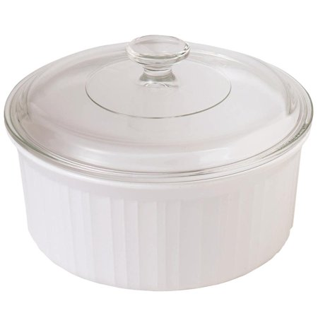 CorningWare French White III 2.5-Quart Round Casserole with Glass Cover