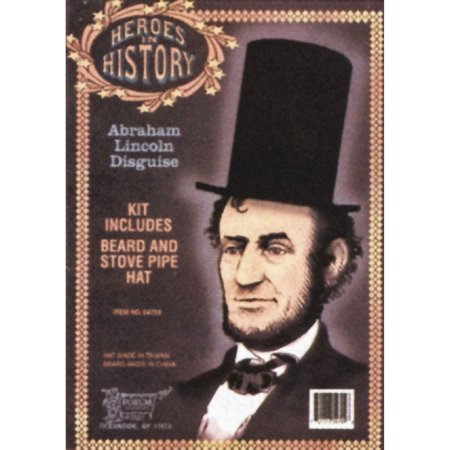 Morris Costumes Abraham Lincoln Beard & Stove Pipe Hat Kit One Size, Style RU54709
