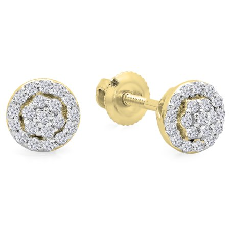 0.25 Carat (ctw) 14K Yellow Gold Round White Diamond Ladies Circle Cluster Stud Earrings 1/4 (Diamond Round Circle Earrings)