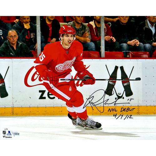 "Riley Sheahan Detroit Red Wings Autographed 16"" x 20"" Debut Skating Photograph with NHL Debut 4 7 12... by Fanatics Authentic"