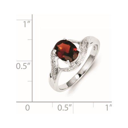 Sterling Silver Rhodium-plated Garnet & Diamond Ring - image 1 de 2