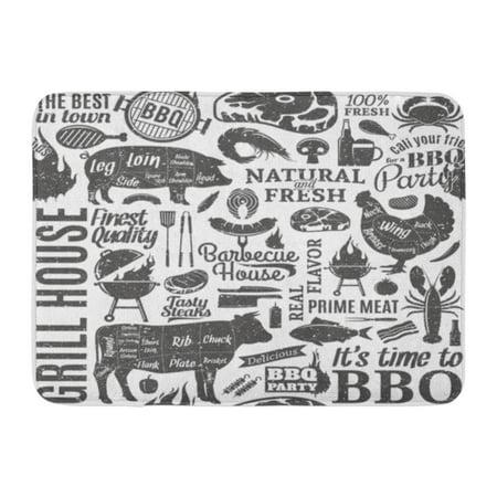 SIDONKU BBQ Retro Styled Typographic Barbecue Meat Pattern Beef Pork Grill Doormat Floor Rug Bath Mat 23.6x15.7