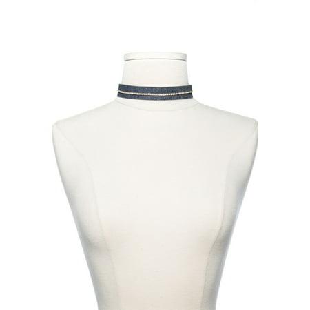 - Womens Denim Stitch W/ Rhinestone Casual Fashion Choker Necklace N6681