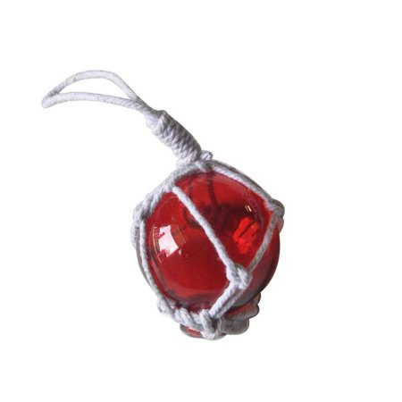 Red Japanese Glass Ball With White Netting Christmas Ornament 2