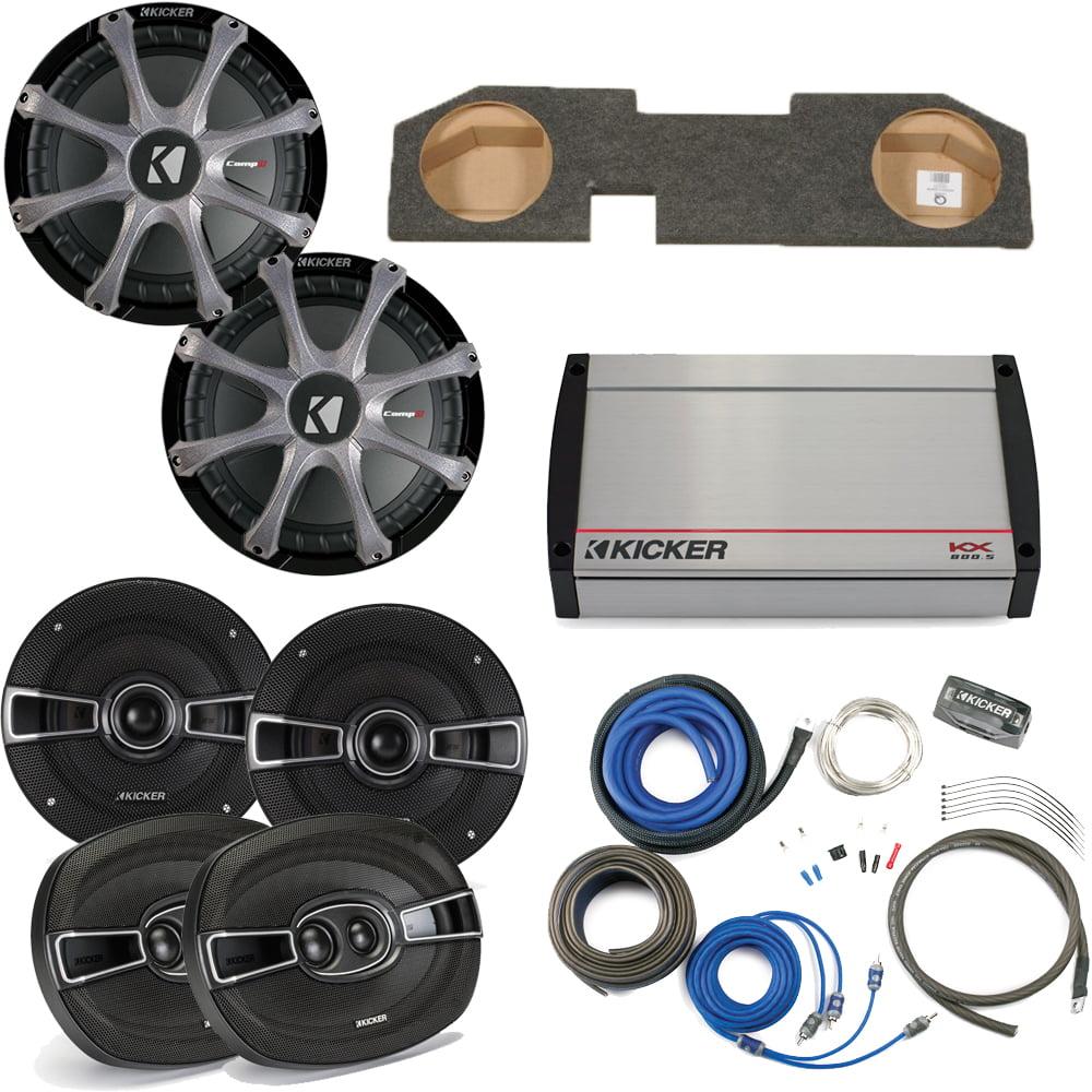 "Kicker for Dodge Ram Quad/Crew Cab 02-15 - Dual 10"" CompR subs & box, KS Speakers, 800 Watt KX Amp, Grilles & Wire Kit"