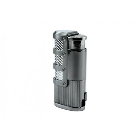 Torch Lighter Punch - Supernova Triple Flame Torch Lighter w/ Retractable Punch Cutter & Mesh Accents - Gun Metal