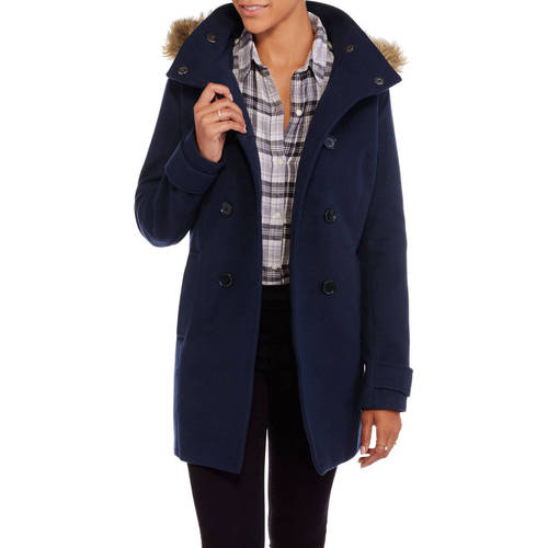 Maxwell Studio Women's Faux Wool Peacoat With Fur-Trimmed Hood
