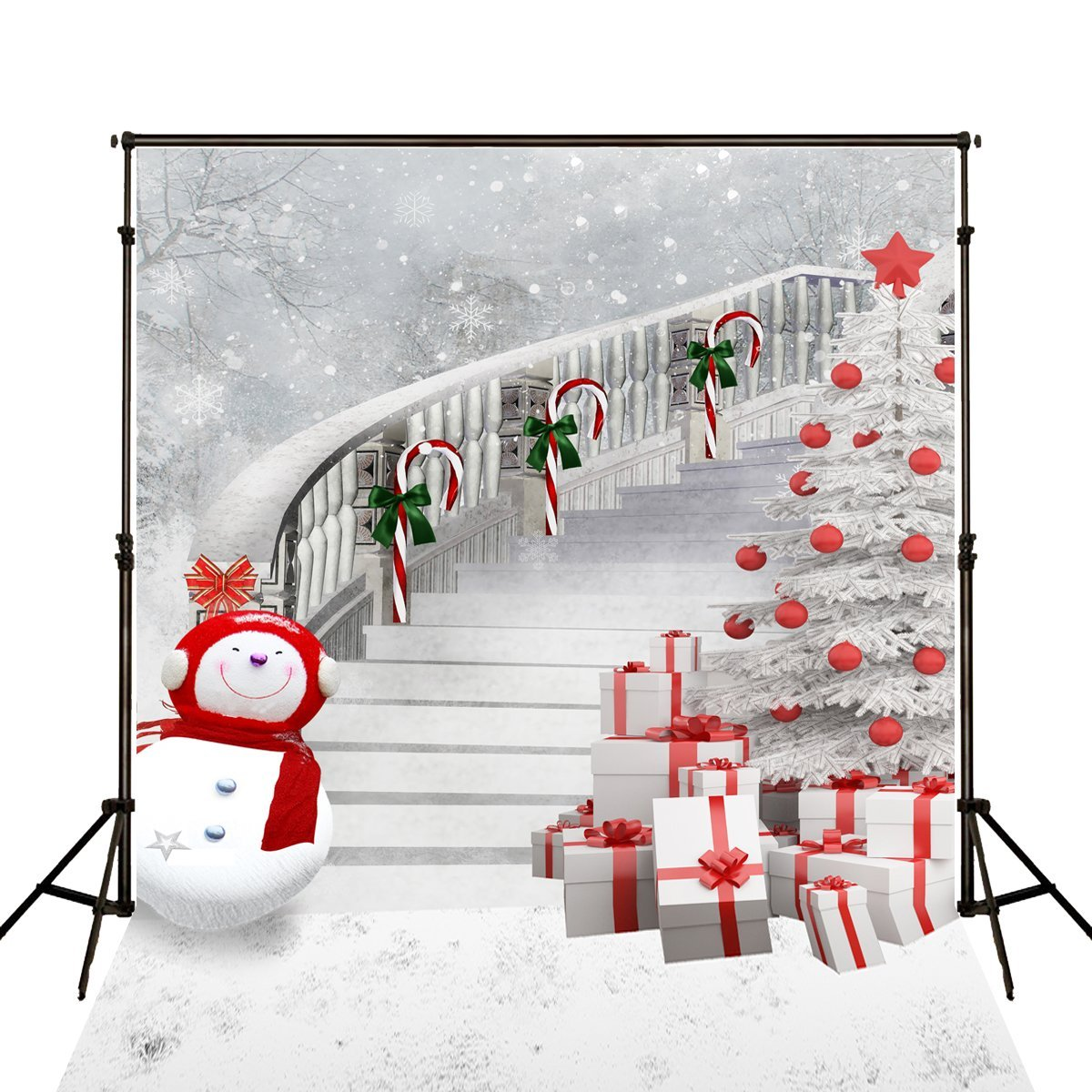 GreenDecor Polyster 5x7ft Outdoor Christmas Decoration Photography Backdrops Christmas Tree and Long Staircase Background for Photo Studio