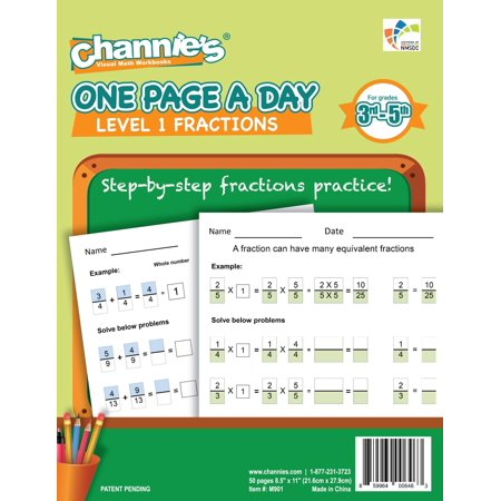 """Channie's One Page A Day Workbook, Beginner Fraction Math Practice Worksheets, 50 Pages Front & Back, 25 Sheets, Grades 3rd, 4th, and 5th, Size 8.5"""" x 11"""