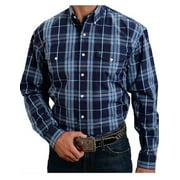 Western Shirt Mens L/S Button Plaid Blue 11-001-0578-0718 BU