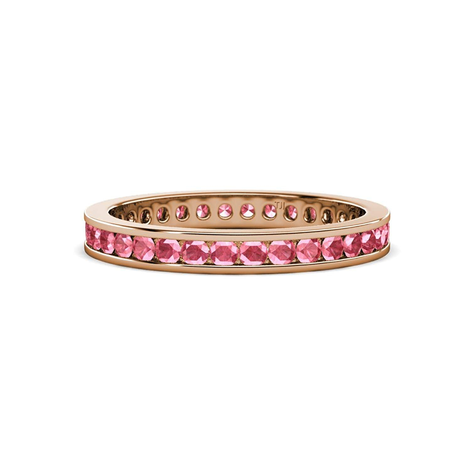Pink Tourmaline 2mm Channel Set Eternity Band 0.59 Carat tw-0.70 Carat tw in 14K Rose Gold.size 6.25 by TriJewels