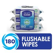 Nice 'N Clean Flushable Wet Wipes, 3 Packs of 60 Wipes, 180 Total Wipes