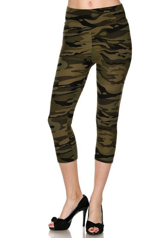 Juniors' Leggings Celebrity Brushed Camouflage Print High-waist Capri Leggings Soft Stretchy Pants