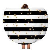 NUDECOR 60 inch Round Beach Towel Blanket Gold Polka Dot on Lines Golden Confetti Black Travel Circle Circular Towels Mat Tapestry Beach Throw