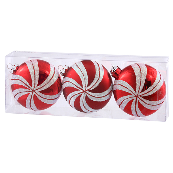 3ct Peppermint Twist Shatterproof Candy Cane Swirl Christmas Ornaments 3.75""