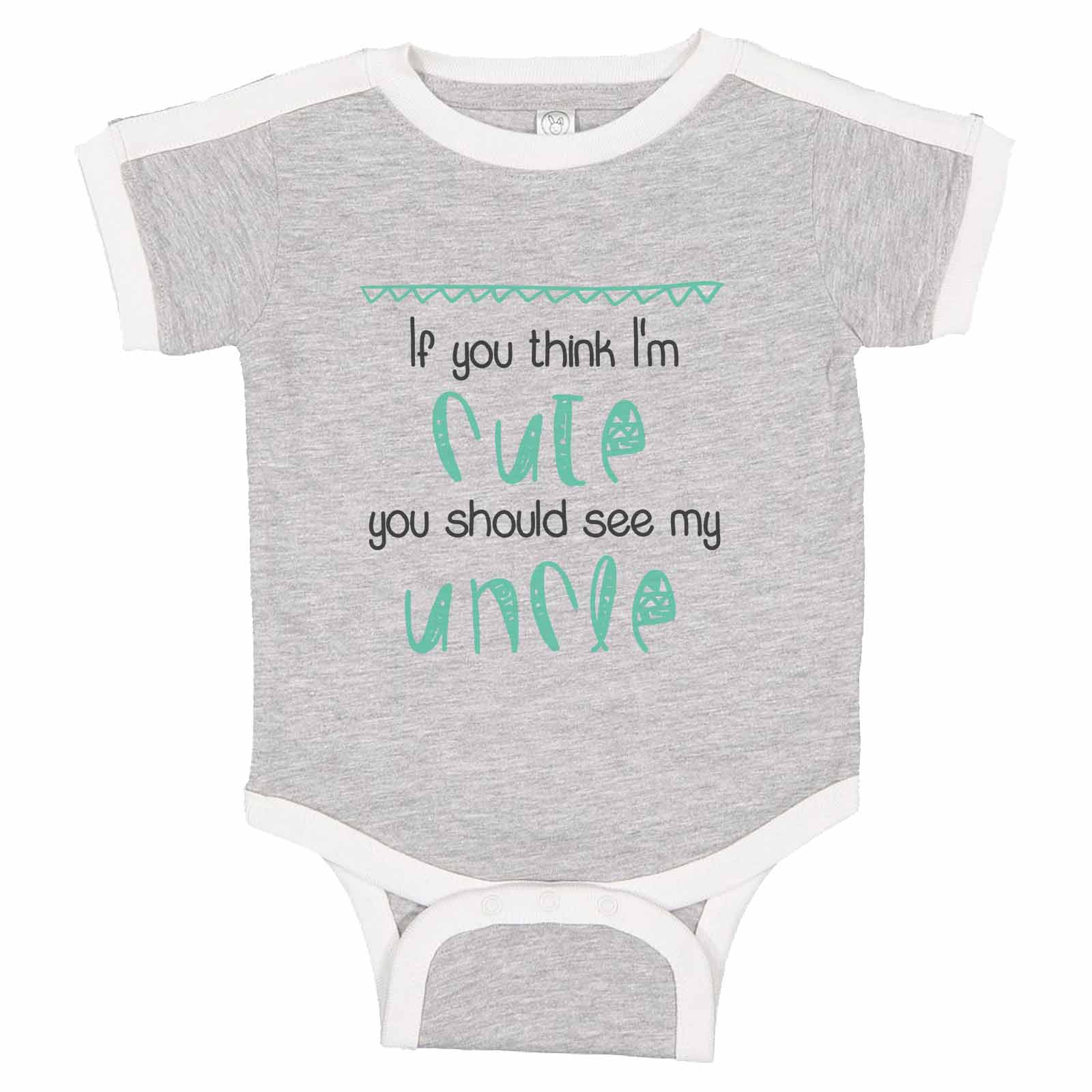 Think I/'m Cute See My Uncle  Funny Babygrow Vest Gift Boy Girl Baby Clothing