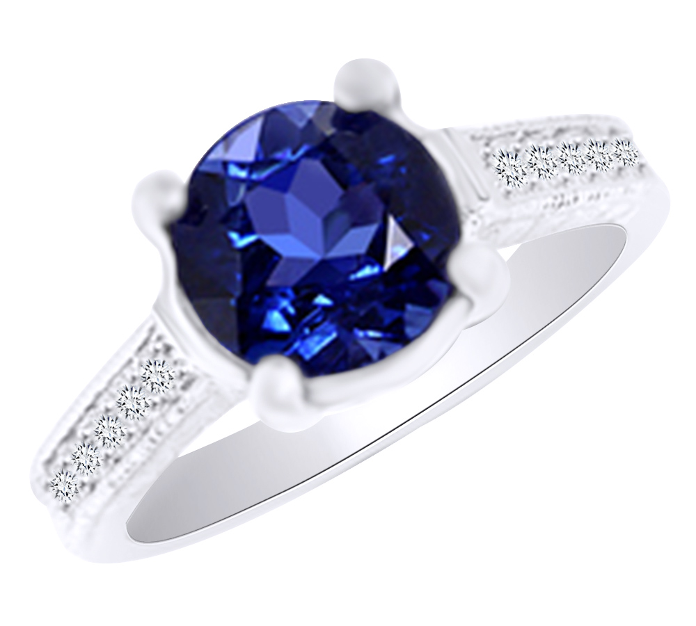 (3.4ct) Simulated Blue Tanzanite & White Diamond Antique Style Engagement Ring In 14k Solid Gold With Ring Size 4 by Jewel Zone US
