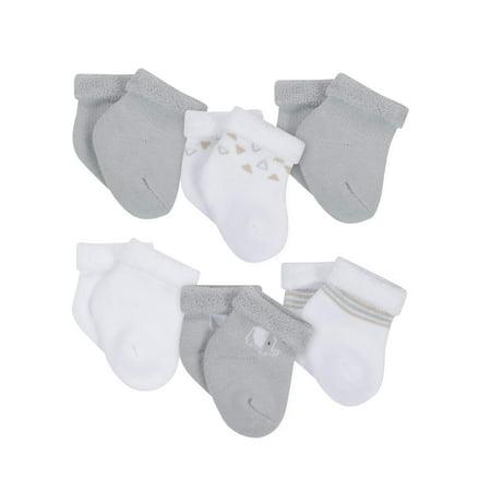 Wiggle Proof Terry Bootie Socks, 6pk (Newborn Baby Boys or Baby Girls, Unisex)