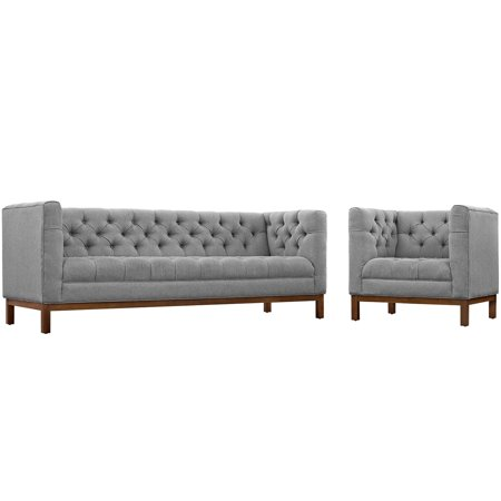 Modern Contemporary Urban Design Living Lounge Room Sofa Set ( Set of Two), Grey Gray, Fabric ()