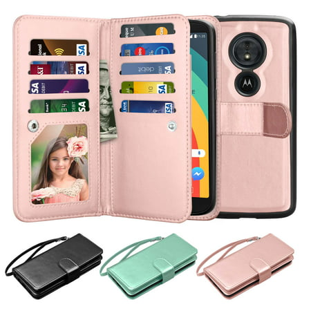 Moto E5 Plus Case, Moto E5 Supra Case, Moto E5 Plus Wallet Case, Njjex 9 Card Slots Detachable Magnetic Wallet Case PU Leather Flip Cover Strap & Stand For Moto E Plus (5th Generation) 6.0