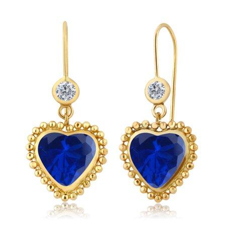 4 80 Ct Heart Shape Blue Simulated Sapphire G H Diamond 14K Yellow Gold Earrings