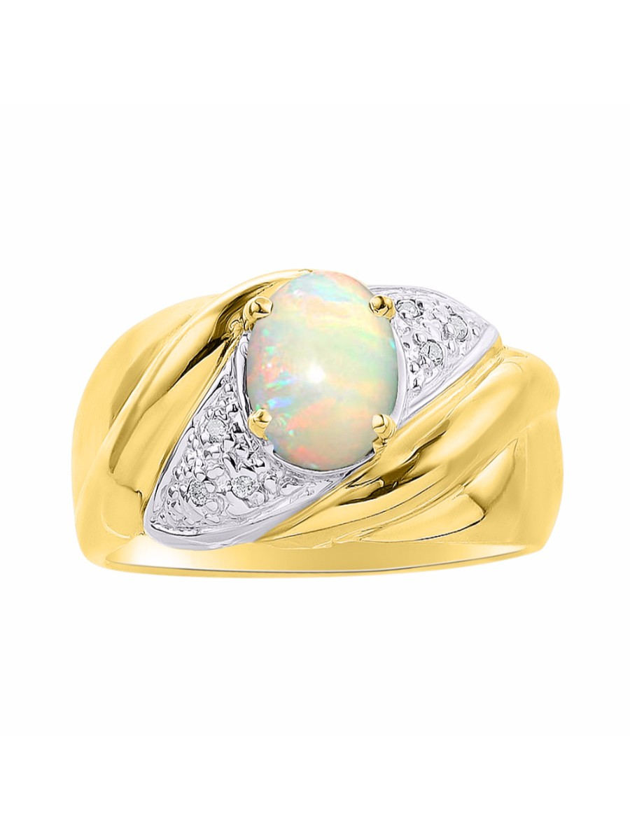 Diamond & Opal Ring Set In Yellow Gold Plated Silver Color Stone Birthstone Ring DSL-LR6787OPY by Rylos