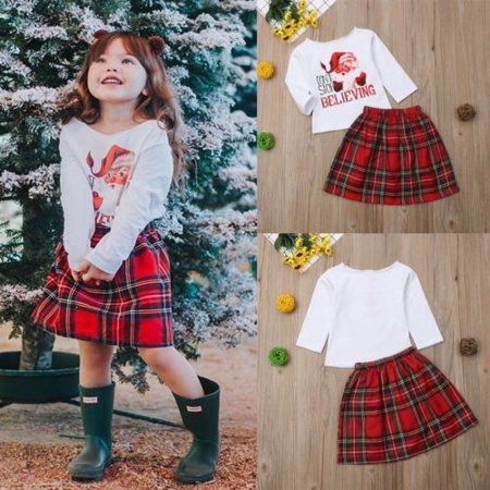 2PCS Toddler Baby Girl Xmas Outfits Clothes Tops Shirt+Plaid Dress Set