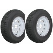 2-Pack Trailer Tire On Rim ST205/75D15 205/75 D 15 in. LRC 5 Hole White Spoke