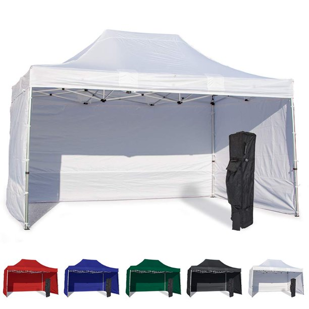 White 10x15 Instant Canopy Tent And 3 Side Walls Commercial Grade Aluminum Frame With Water Resistant Canopy Top And Sidewall Bag And Stake Kit Included 5 Color Options Walmart Com Walmart Com