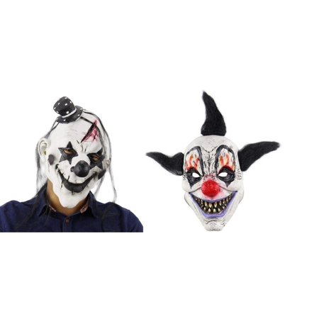 Elegantoss Scary Clown and Terror Wizard Clown Overhead Mask Creepy Prop for Horror Halloween Costume Cosplay for Mens Women and Kids in Latex (Set of 2 Masks) ()