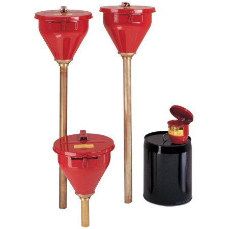 Justrite Large Funnel w/Self-Closing Cover; Safety Drum Funnel w/Brass Flame (Drum Funnel Cover)