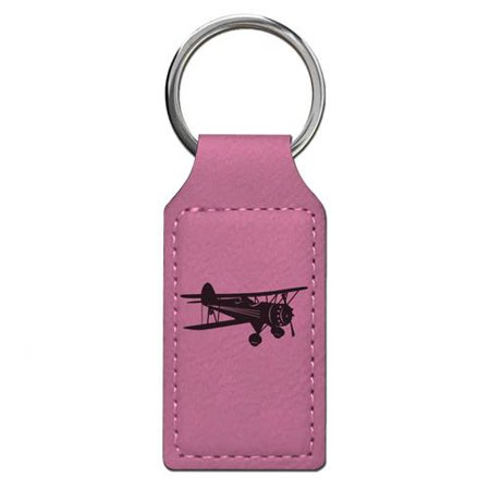 Keychain - Biplane - Personalized Engraving Included (Pink Rectangle)