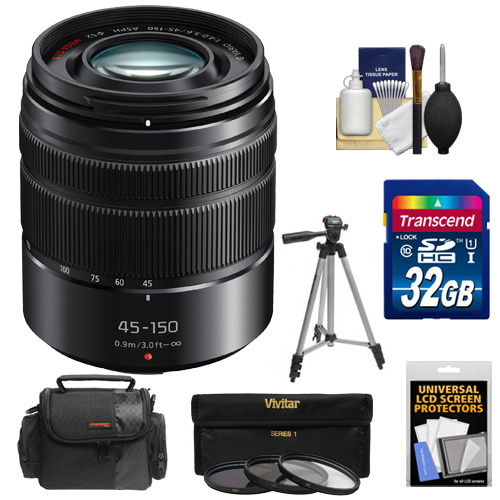 Panasonic Lumix G Vario 45-150mm f/4.0-5.6 OIS Lens with 32GB Card + Case + 3 UV/CPL/ND8 Filters + Tripod + Kit for G5, G6, GF5, GF6, GH3, GH4, GM1, GX7 Cameras