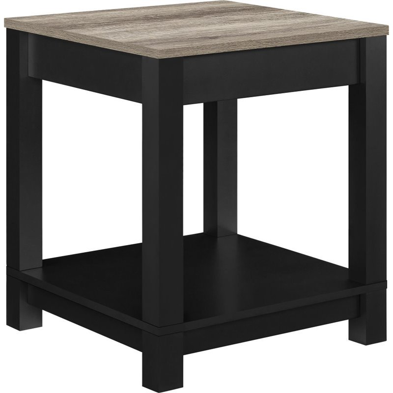 Altra Furniture Carver End Table in Black and Sonoma Oak by Ameriwood Home