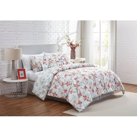 VCNY Home Jasmine Reversible Floral Comforter Set, Full/Queen, Coral