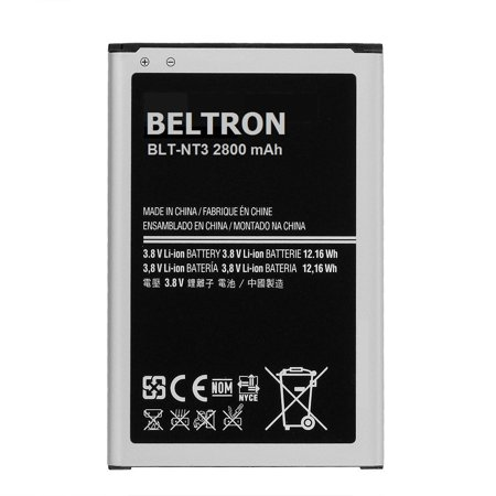 New 3200 mAh Replacement Battery for Samsung Galaxy Note 3 III B800BE B800BU B800BZ (SM-N900 N9000 AT&T Sprint T-Mobile US Cellular Verizon) BELTRON 1 YEAR