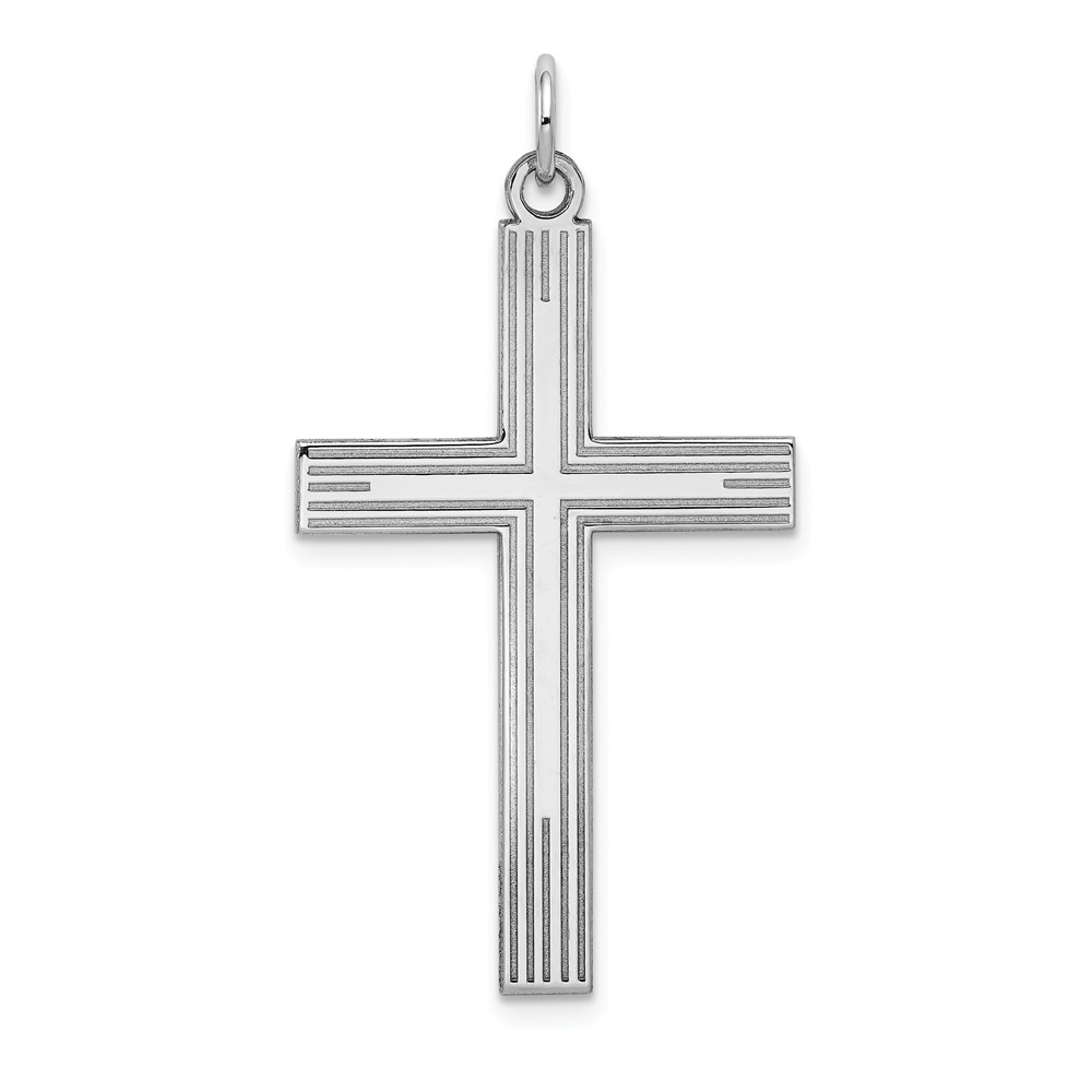 14K White Gold Engravable Laser Designed Latin Cross Pendant
