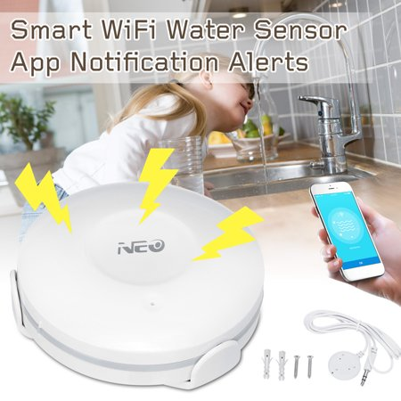 Smart Water Sensor Smart Wi-Fi Water Sensor for Flood & Leak Detection Alarm App Notification Alerts (Free (Best Storm Alert App)