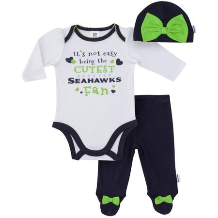 size 40 b93ac 5c72e NFL Seattle Seahawks Baby Girls Bodysuit, Pant and Cap Outfit Set, 3pc