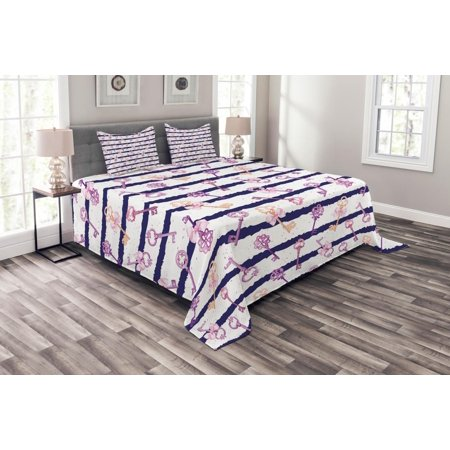- Girls Bedspread Set, Old Medieval Vintage Keys with Ribbons and Diamonds Striped Pattern in French Style, Decorative Quilted Coverlet Set with Pillow Shams Included, Purple Blue, by Ambesonne