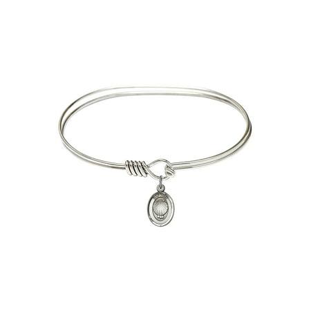 7 inch Oval Eye Hook Bangle Bracelet w/ Baptism charm Sterling Silver Medal