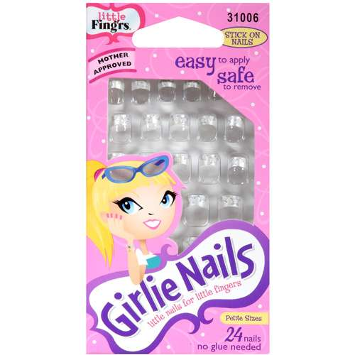 Little Fing'rs: Stick On Nails Girlie Nails, 24 Pk